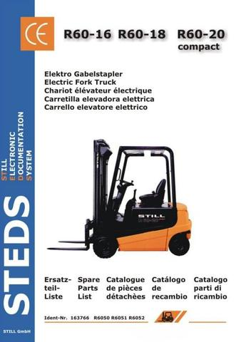 Still R60-16, R60-18, R60-20 Compact Electric Forklift Truck Series 6050, 6051,6052 Spare Parts List