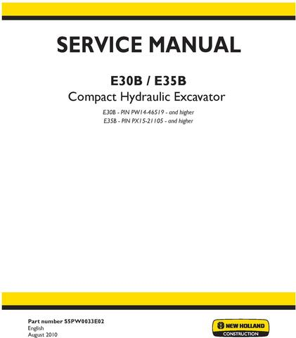 New Holland E30B, E35B Compact Hydraulic Excavator Service Manual