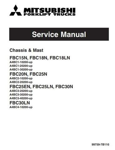 Mitsubishi FBC15N, FBC18(L)N, FBC20N, FBC25(E/L)N, FBC30(L)N Electric Forklift Truck Service Manual