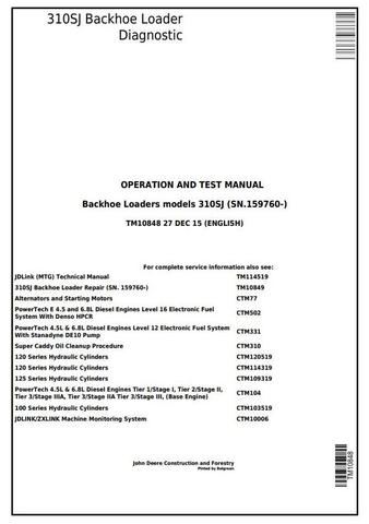 John Deere 310SJ Backhoe Loader (SN.159760-) Diagnostic, Operation and Test Service Manual (TM10848)