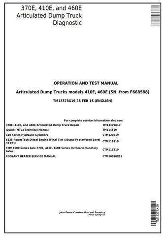 John Deere 370E, 410E, 460E Articulated Dump Truck (SN. from F668588) Diagnostic Manual (TM13378X19)