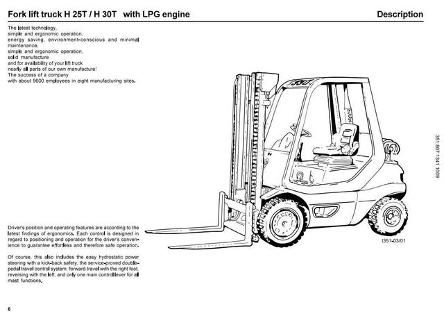 Linde H25T, H30T Forklift Truck 351-05 series w.LPG Nissan Engine Operating Instructions, Manual