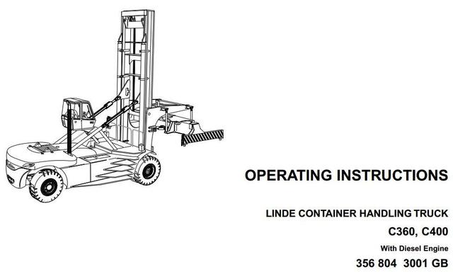 Linde C360, C400 Container Handler 356 Series Operating Instructions (User Manual)