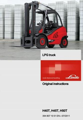 Linde H40T, H45T, H50T LPG forklift Truck 394 Series Operating Instructions (User Manual)