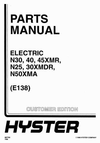 Hyster N25XMDR, N30XMDR, N30XMR, N40XMR, N45XMR, N50XMA Reach Truck E138 Series Spare Parts Manual