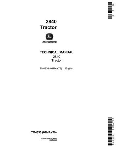 John Deere 2840 Utility Tractor Technical Service Manual (tm4336)